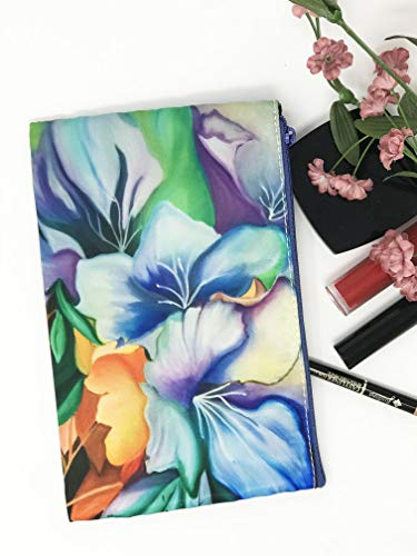 Cosmetic Makeup Bag, Zippered Flower Glam Purse, Small Pencil Holder Floral