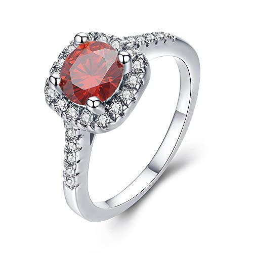 UFOORO Women Fashion Ring Jewelry Stunning Red Cubic Zirconia Engagement Ring (Red-W, 6)