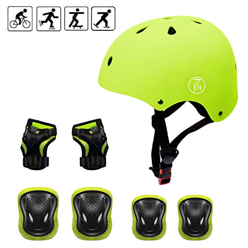 67i Toddler Helmet Kids Knee Pads for 3-8 Years Kids Helmet Sports Protective Gear Set Knee Elbow Wrist Pads CPSC Certified Safety for Bike Skateboard Scooter Rollerblading (Yellow)