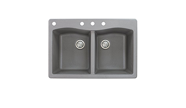 Grey Transolid ATDE3322-17-CAB Aversa Granite 3-Hole Drop-in Double-Bowl Kitchen Sink 33-in L x 22-in W x 9-in H