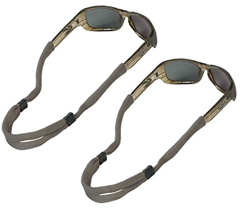 Chums No Tail Adjustable Cotton Eyeglass and Sunglass Retainer / Strap, Gray / Grey (2 Pack)