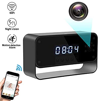 Facamword Hidden Camera WiFi Spy Camera Clock HD 1080P Wireless Security Cam Home Nanny Cameras Starlight Night Vision Remote View by Facamword