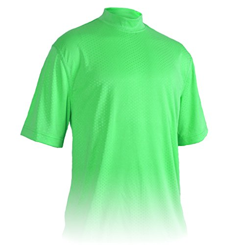 Monterey Club Mens Dry Swing Swiss Dot Texture Solid Mock Neck Shirt #3309 (Foam Green, 3X-Large)