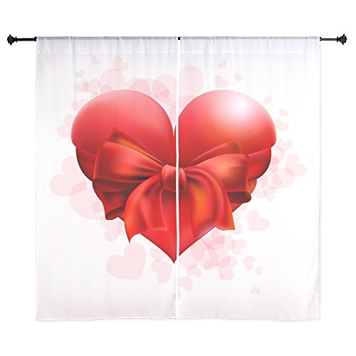 60 Inch Curtain Curtains Heart with Red Bow by Truly Teague