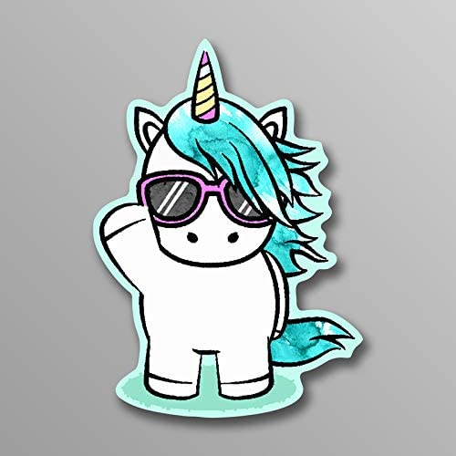 MKS1453 5 Inch Decal More Shiz Unicorn Waving Sunglasses Vinyl Decal Sticker Car Truck Van SUV Window Wall Cup Laptop