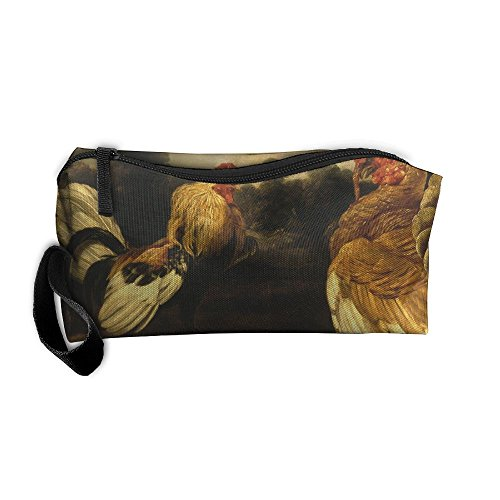 Rooster Turkey Cock Fight Pattern Makeup Bag Calico Girl Women Travel Portable Cosmetic Bag Sewing Kit Stationery Bags Funny Storage Pouch Bag Multi-Function Bag