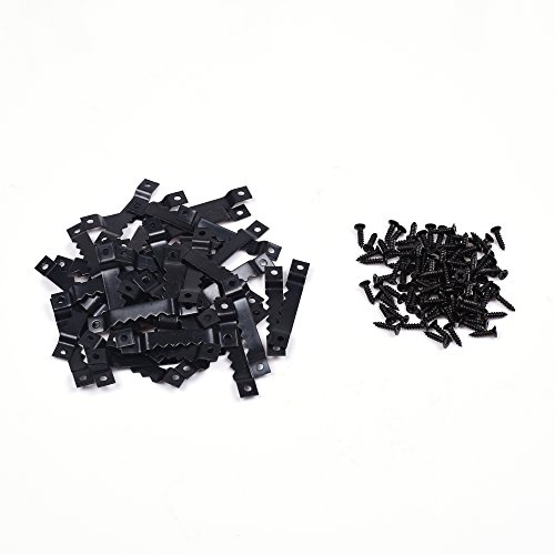 BCP 50pcs Black Picture Photo Frame Saw Tooth Hooks with - Pitch Picture Black