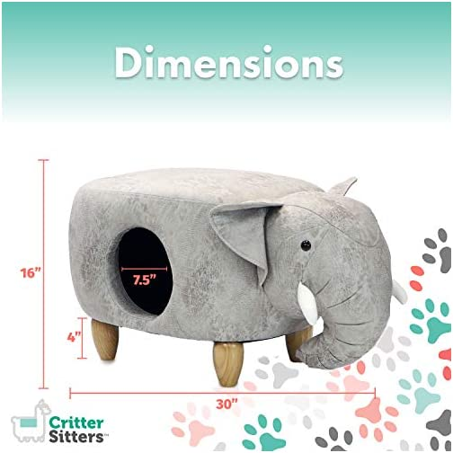Critter Sitters Light Gray Ottoman 16″ Seat Height House Elephant-Soft Faux Leather Look-Perfect for Small Pets-Furniture for Nursery, Bedroom, Playroom & Living Room-Décor