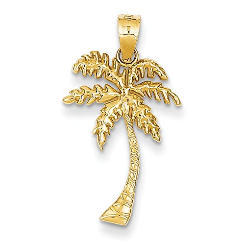 Pendants Beach and Sea Life Charms 14K Yellow Gold Mini Palm Tree Charm Pendant ()