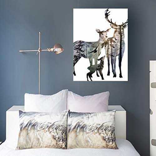 (Krezy Decor Canvas Print Wall Art Birds Deer Family Inside Nobody Coniferous Forest Wildlife Nature Morning 16 x 16 Inches Stretched Wooden Frame Artwork Home Office Painting Decoration)