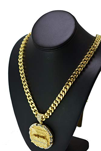 Gold PT Iced Out XL Size Last Supper Pendant & 30