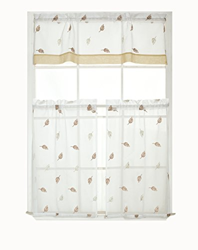 Regal Home Collections Jennifer Embroidered Metallic Floral Kitchen Curtain Tier & Valance Set - Assorted Colors (Taupe/Beige)