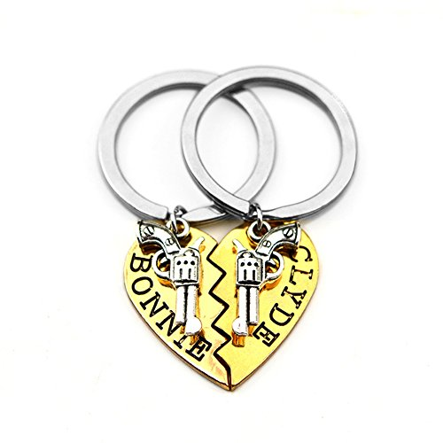 Bonnie and Clyde Revolver Charm Broken Heart Puzzle Keyring Keychain Set for Best Friends