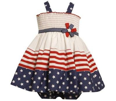 Bonnie Jean Baby/INFANT 12M-24M 2-Piece WHITE RED BLUE STARS and STRIPES SMOCKED Americana Patriotic Spring Summer Girl Party Dress