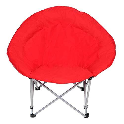 XL Folding Lightweight Moon Camping Chair Outdoor Sport Furniture Lounge Bedroom Padded Seat Red Foldable Beach Backyard Garden (Furniture Luna Garden)