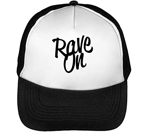 Rave On Graphic Gorras Hombre Snapback Beisbol Negro Blanco