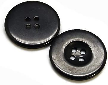 Charming Beads Pacco 20 x Nero Resina 23mm Bottoni Tondi - HA07265 4 Fori