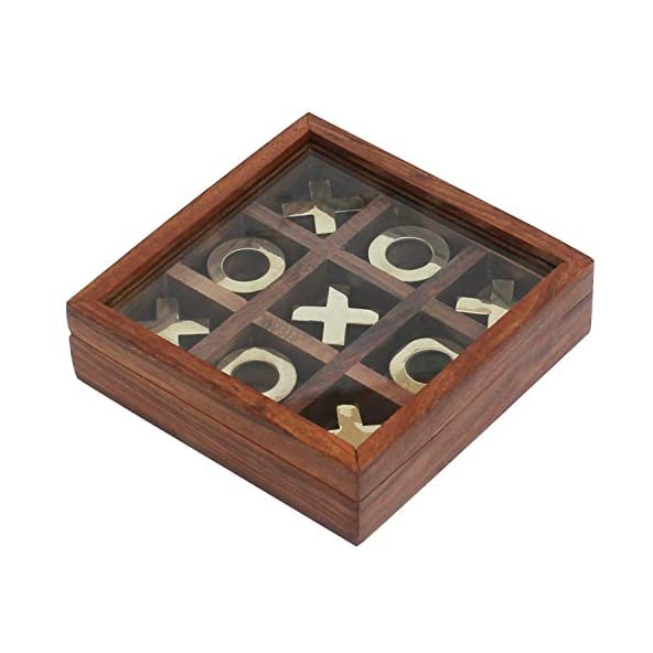 Divine Art Tick Tack Toe – Tic tac Toe – Wooden Family Board Game Metal Naughts & Crosses Storage Box with Glass Lid -Unique Table/Desk/Floor/Indoor Game