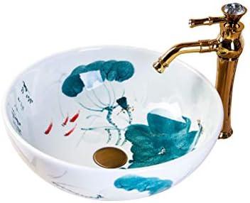 セラミックラウンド手描きミニステージ洗面浴室バルコニーアート盆地35センチメートル洗面 P3/19