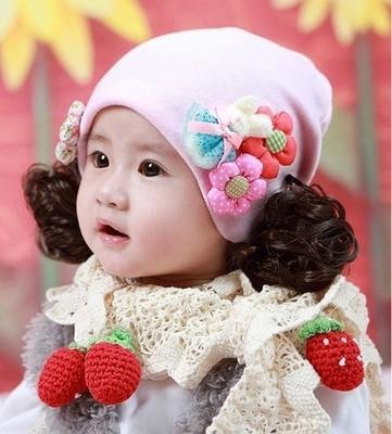 Amazon.com   women girls female baby hat winter 0-3-6-12 month-old girl wig  cap 1-2 years old women girls female baby princess hat autumn and winter    ... b6370aa10d5