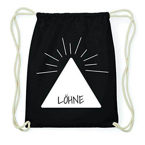 JOllify LÖHNE Hipster Turnbeutel Tasche Rucksack aus Baumwolle - Farbe: schwarz Design: Pyramide