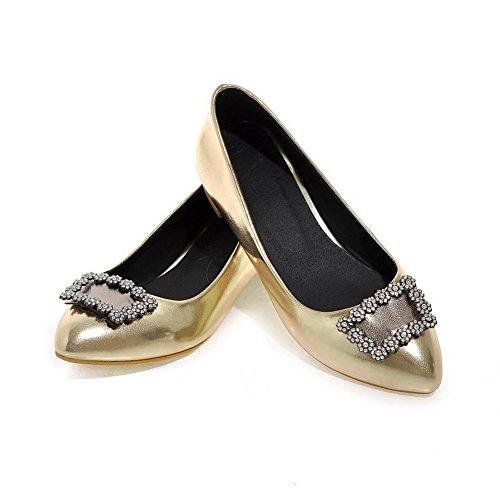 Tire Femme Cuir PU Chaussures Unie AgooLar Légeres Doré Pointu Couleur AZnUwx