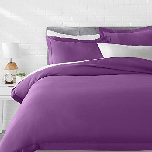 AmazonBasics Microfiber Duvet Cover Bed Set, Lightweight and Soft, King, Plum (Duvet Cover Plum King)