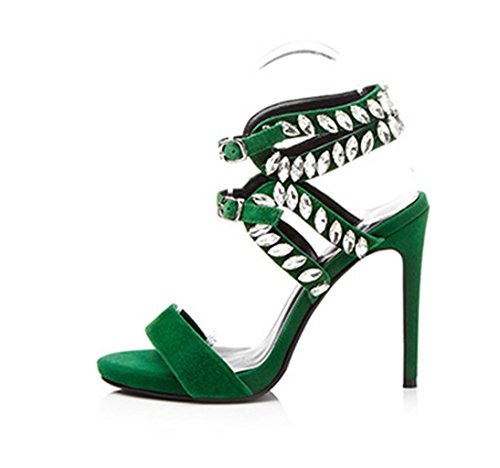 MNII Ms Fashion High Heels Fine with Rhinestones Fish Mouth Buckle Party Party Prom Size- Stylish and Beautiful Green