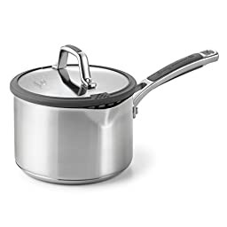 Calphalon Simply Easy System Stainless Steel Sauce Pan and Cover, 2.5-Quart