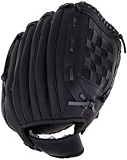 SM SunniMix Durable Baseball Softball Left Hand Glove with Fur Wrist Mitt Pink Black Unisex Kids Youth 11.5/10
