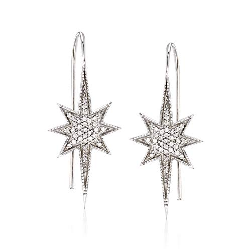 Ross-Simons 0.35 ct. t.w. Diamond Star Earrings in Sterling Silver (Sterling Silver Earring Jackets For Diamond Studs)