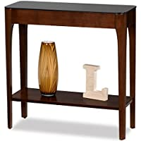 Retro Modern Narrow Sofa Table Console Hall Stand Wooden Warm Brown Finish with Black Glass Top - Includes Modhaus Living Pen