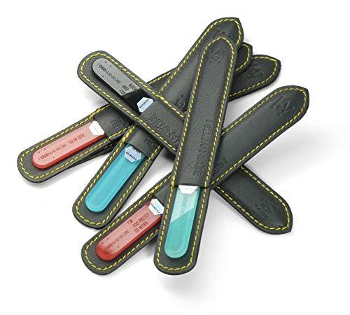Original GERmanikure genuine crystal file in leather case, 3mm thick