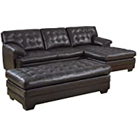 Homelegance 9739 Channel-Tufted 2-Piece Sectional Sofa Set, Dark Brown with Bonded Leather