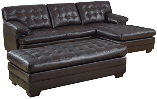Homelegance 9739 Channel-Tufted 2-Piece Sectional Sofa Set, Dark Brown with Bonded Leather ()