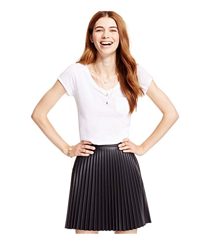 Material Girl Womens Faux Leather Pleated Skirt caviarblack XS