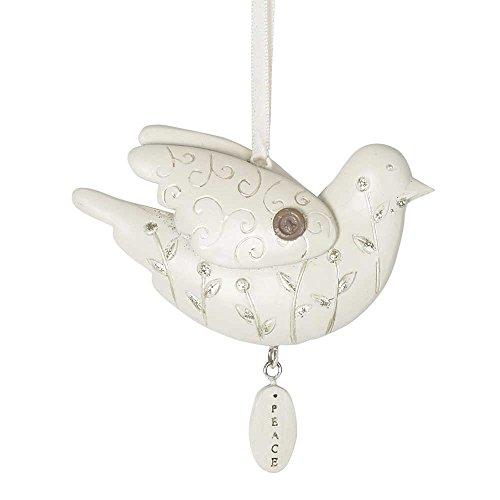 Peace White Dove Ivory with Glitter Accents 3.5 x 2.5 Resin Ornament Set of 6