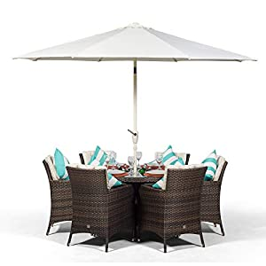 Savannah 6 Seater Brown Rattan Dining Table & Chairs with Ice Bucket Drinks Cooler | Outdoor Poly Rattan Garden Dining Furniture Set Rattan with Parasol & Cover