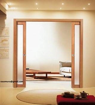 Puerta corredera Totalmente interior pared doble puerta de cristal lisa blanca: Amazon.es: Bricolaje y herramientas