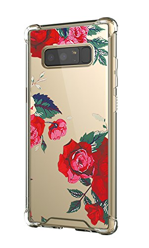 Cutebe Shockproof Hard PC+ TPU Bumper Case Scratch-Resistant Cover for Samsung Galaxy Note 8 2017 Release Rose