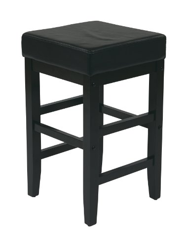 Office Star Metro Faux Leather Square Barstool with Espresso Legs, 25-inch, Black
