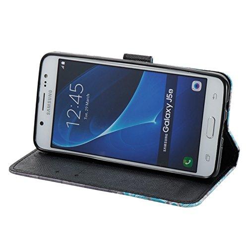 Samsung Galaxy J5 2016 PU Cuero Funda, Vandot 3D Bling Rhinestones Mariposa Shell TPU Inner Bumper Case Funda con Billetera Tapa Holster Cierre Magnético Tarjeta Ranura Carcasa Teléfono Concha Bolsa C 3D PT 03