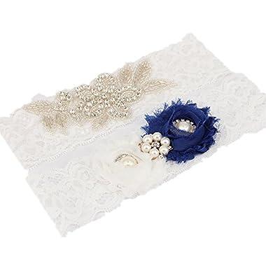 TRLYC 2 Wide*18 Length Wedding Garter Sale Navy Blue Bridal Garter Set Prom Garter