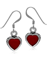 Heart Shape Created Red Coral Oxidized Finish 925 Sterling Silver Dangle Hook Earrings