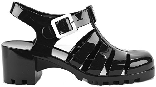 Ladies Womens Holiday Beach Summer Jelly Jellies Sandals Flat Shoes Size 3-8 New Black - White Buckle