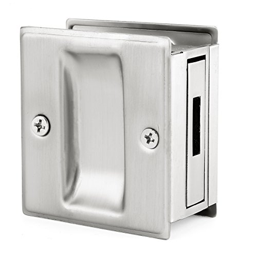 "Passage Sliding Door Pull Lock Brushed Satin Nickel- Replace Old Or Damaged Pocket Door Lock Quickly And Easily, 2-3/4""x2-1/2"", For Door Thickness From 1-3/8"" To - Pulls Colonial Nickel Bronze"