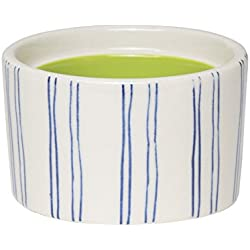 "C.R. Gibson ""M Monogram Blue Striped and Green Interior Small Ceramic Trinket and Jewelry Box, 2.5"" W x 2"" H x 2.5"" D"