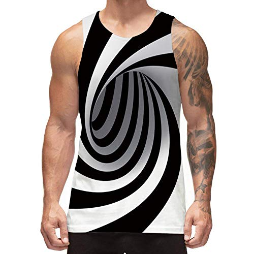 Freshhoodies Mens 3D Tank Tops Sleeveless Graphic Tee Black and White Designer Tank Tops Athletic Jersey Undershirts (A1-Swirl, Large)