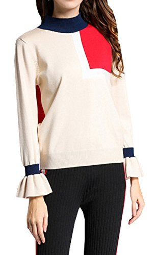Manches Pullover Tricot Beige Pull Longues Chandail Col BLACKMYTH Casual Color Rond Femme Block RzqxPw6t1