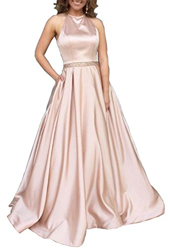 YORFORMALS Halter A-Line Beaded Satin Plus Size Formal Evening Gown Long Prom Dress With Pockets Size 28 Rose Gold